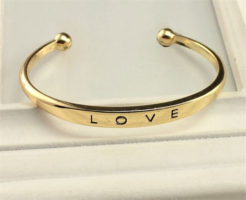 Women's LOVE Plated Cuff Bangle Bracelet - Gold, SIlver, or Rose Gold -  - 4