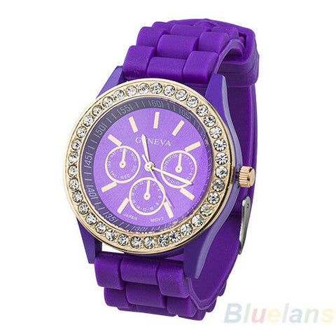 Women's Golden Crystal PARIS Silicone Quartz Watch - Purple -