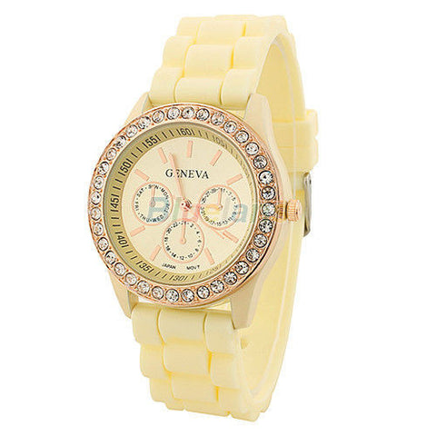 Women's Golden Crystal PARIS Silicone Quartz Watch - Pearl -