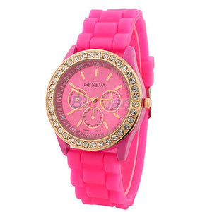 Women's Golden Crystal PARIS Silicone Quartz Watch - Pink -