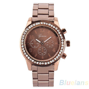Women's PARIS Bling Crystal Stainless Steel Quartz Watch - Coffee -  - 1