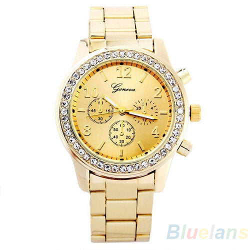 Women's PARIS Bling Crystal Stainless Steel Quartz Watch - Gold -  - 1