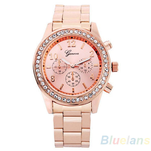 Women's PARIS Bling Crystal Stainless Steel Quartz Watch - Golden Rose -  - 1