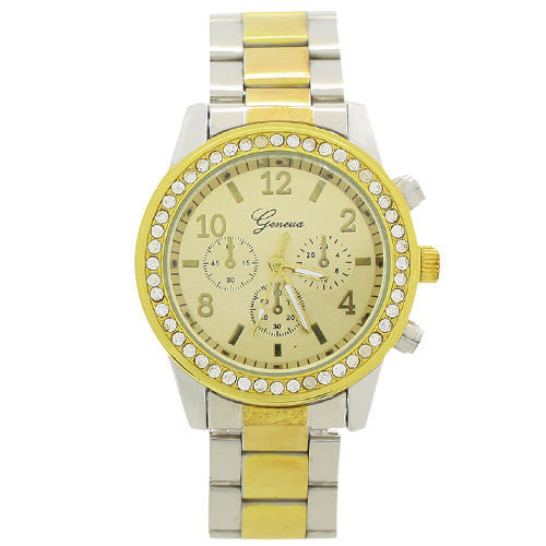 Women's PARIS Bling Crystal Stainless Steel Quartz Watch - Silver & Gold -  - 1