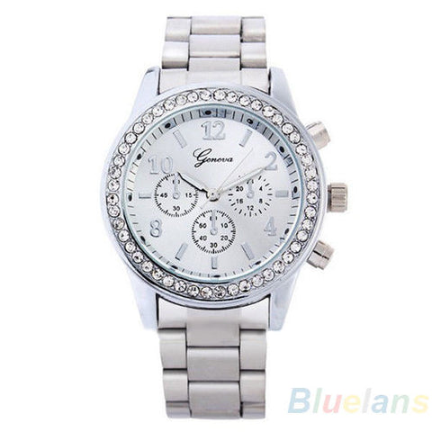 Women's PARIS Bling Crystal Stainless Steel Quartz Watch - Silver -  - 1