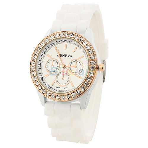 Women's Golden Crystal PARIS Silicone Quartz Watch - White -