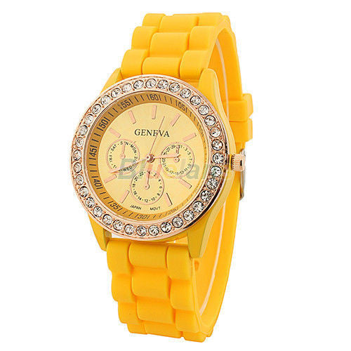 Women's Golden Crystal PARIS Silicone Quartz Watch - Yellow -