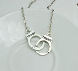 Women's FREEDOM Handcuffs Silver Necklace - Thirsty Buyer - 1