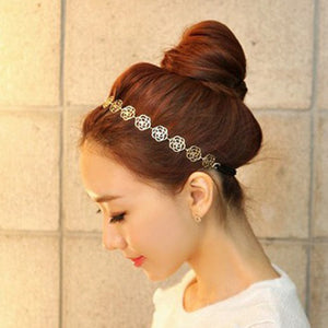 Women's GOLDEN ROSES Metallic Elastic Headband - COOL! -  - 1