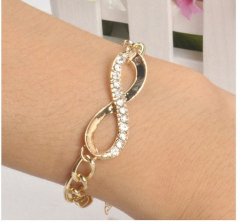 Women's Gold Crystals INFINITY Charm Bracelet -  - 1
