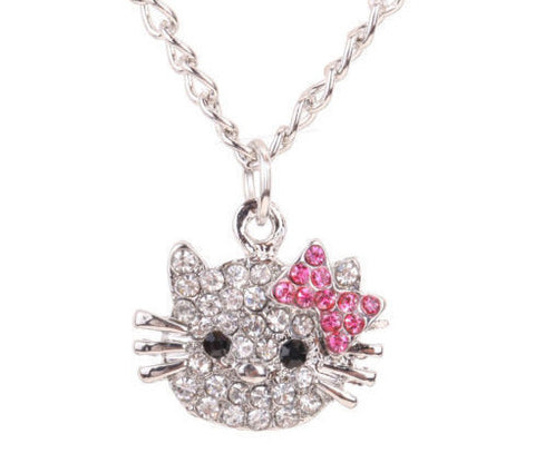 Women's Silver KITTY CAT Crystals Pendant Necklace - Thirsty Buyer - 1