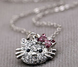 Women's Silver KITTY CAT Crystals Pendant Necklace - Thirsty Buyer - 2