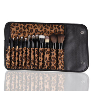Pro Cosmetic Makeup Brush Set w/ Leopard Bag - 12 pieces - Thirsty Buyer - 1