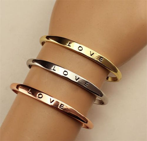 Women's LOVE Plated Cuff Bangle Bracelet - Gold, SIlver, or Rose Gold -  - 1