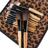 Pro Cosmetic Makeup Brush Set w/ Leopard Bag - 12 pieces - Thirsty Buyer - 2
