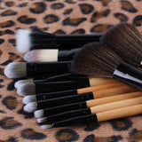 Pro Cosmetic Makeup Brush Set w/ Leopard Bag - 12 pieces - Thirsty Buyer - 3