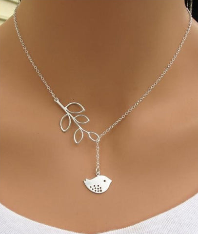 Women's Silver SONG Bird Love Pendant Necklace - Thirsty Buyer
