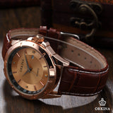 Men's Luxury Golden Dial Crystals Leather Strap Quartz Watch - HOT -  - 3