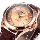 Men's Luxury Golden Dial Crystals Leather Strap Quartz Watch - HOT -  - 2