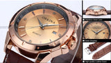 Men's Luxury Golden Dial Crystals Leather Strap Quartz Watch - HOT -  - 5