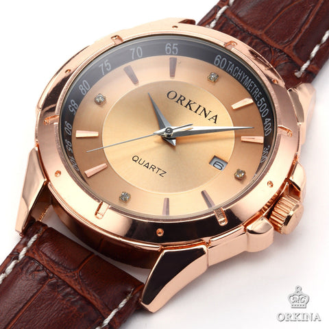 Men's Luxury Golden Dial Crystals Leather Strap Quartz Watch - HOT -  - 1