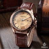 Men's Luxury Golden Dial Crystals Leather Strap Quartz Watch - HOT -  - 4
