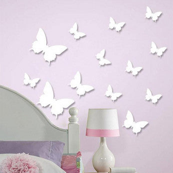 3D Plastic Wall Butterflies Peel & Stick - 12 pieces (Assorted Colors) - Thirsty Buyer - 1