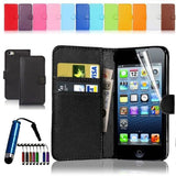 iPhone 4 5 6 Leather Wallet Case Cover w/ Free Screen Protector - Assorted Colors - Thirsty Buyer - 1