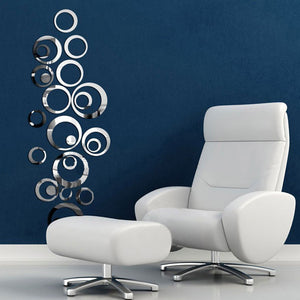 Silver Circle Mirrors Art Wall Vinyl Decals - Thirsty Buyer - 1