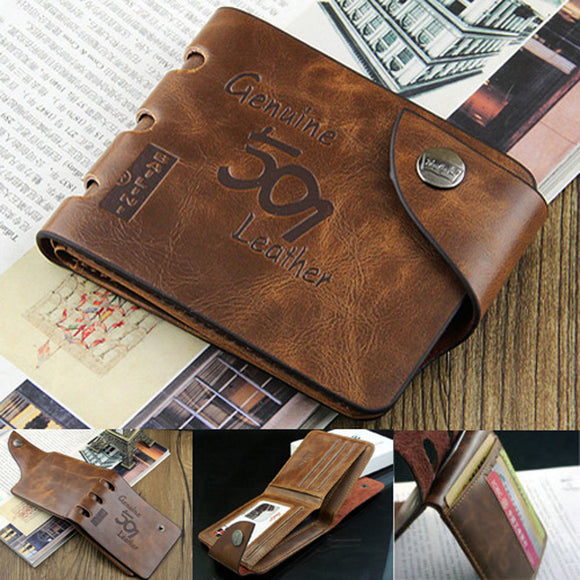 Men's Rustic Brown Leather Bifold Wallet - Thirsty Buyer - 1