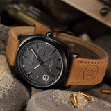 Men's OUTDOORSMAN Survival Leather Strap Quartz Watch - Dark Face -  - 2