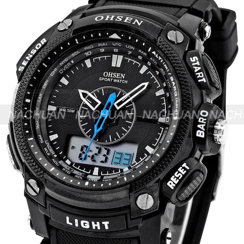 Men's Rugged Sport/Military/Athletic Active Quartz Stop Watch - Black -  - 1