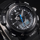 Men's Rugged Sport/Military/Athletic Active Quartz Stop Watch - Black -  - 2