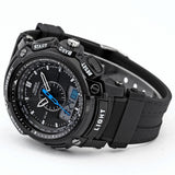 Men's Rugged Sport/Military/Athletic Active Quartz Stop Watch - Black -  - 4
