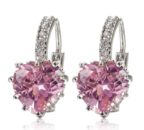 Women's White Gold Pink Crystal Heart ATTRACTIVE Earrings -  - 1