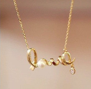 Women's Gold PEARL LOVE Crystal Necklace - Thirsty Buyer - 1