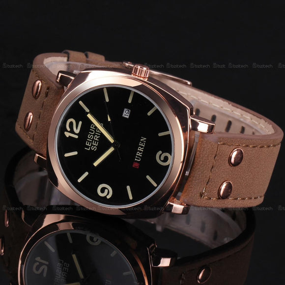 Men's OUTDOORSMAN Survival Leather Strap Quartz Watch - Rose Gold w/ Date -