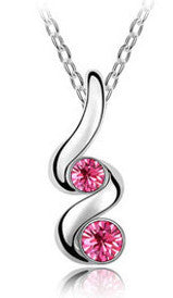 Women's Silver Crystals TWIST Pendant Necklace - Assorted Colors - Thirsty Buyer - 1