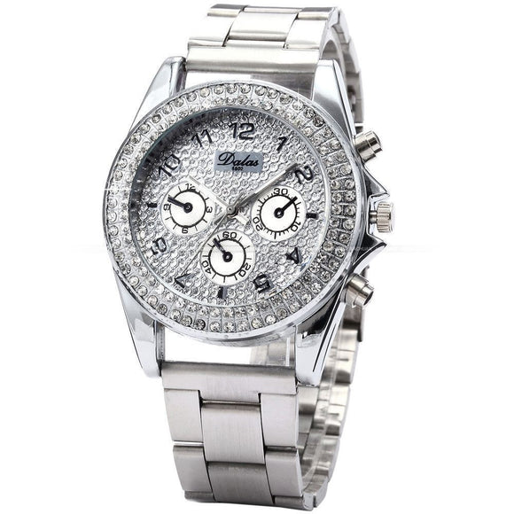 Women's Crystal Silver BLING Quartz Watch -