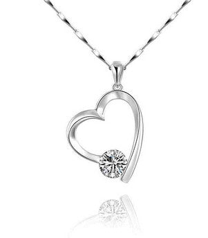 Women's Silver DIAMOND to my Heart Pendant Necklace - Thirsty Buyer - 1