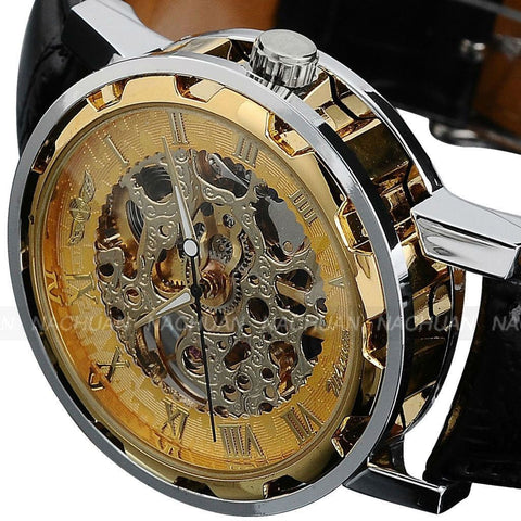 Men's Gold Dial Mechanical Masterpiece Watch - Black Leather -  - 1