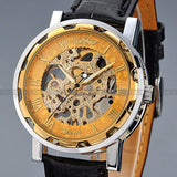 Men's Gold Dial Mechanical Masterpiece Watch - Black Leather -  - 3