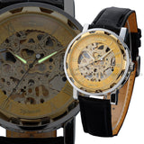 Men's Gold Dial Mechanical Masterpiece Watch - Black Leather -  - 5