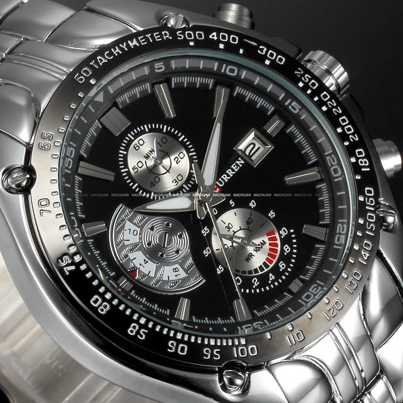 Men's Stainless Steel Stylish Quartz Watch - Black & Silver -  - 1