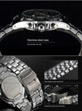 Men's Stainless Steel Stylish Quartz Watch - Black & Silver -  - 3