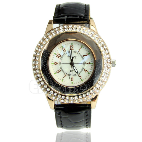 Women's Designer Crystal Venetian Quartz Watch - Black -  - 1