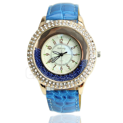 Women's Designer Crystal Venetian Quartz Watch - Blue -  - 1