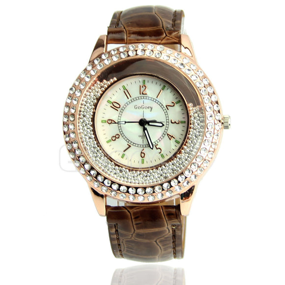 Women's Designer Crystal Venetian Quartz Watch - Coffee -  - 1