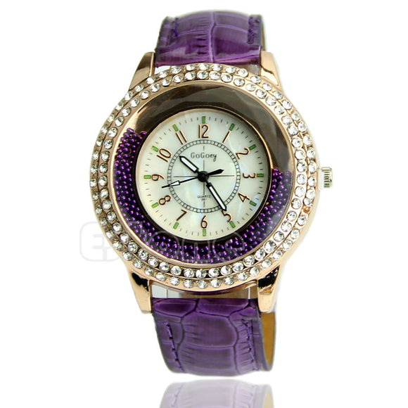 Women's Designer Crystal Venetian Quartz Watch - Purple -  - 1