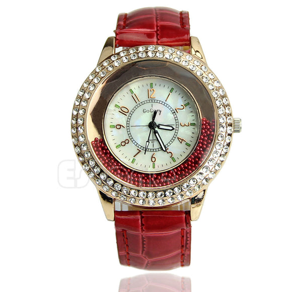 Women's Designer Crystal Venetian Quartz Watch - Red -  - 1